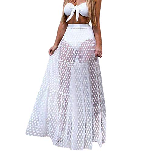 POQOQ Tulle Tutu Party Cocktail Summer Women Mesh Patchwork High Waist Beach Long Skirt White -