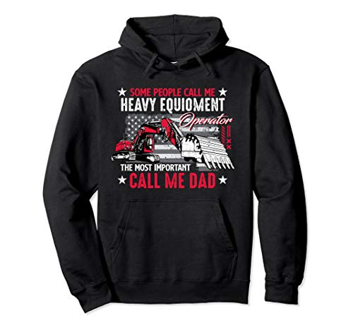 Funny Heavy Equipment Operator Dad USA Flag Patriotic Gift Pullover Hoodie