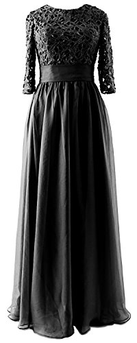 Long Vintage MACloth of Sleeve Mother Gown Lace Dress Schwarz Half Party Bride Evening RtwAAqgnxZ