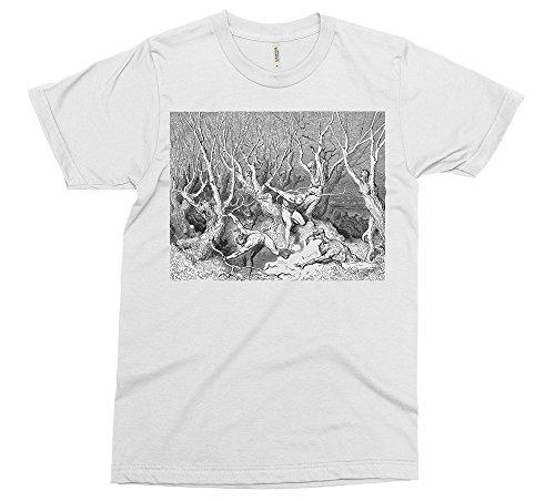 PixiePrints Tree People - Gustav Dore T-Shirt [Color - White, Size - XL]