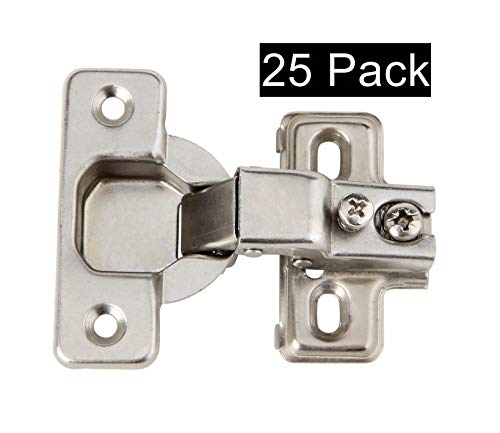 Silverline Face Frame Concealed Euro 105Deg Self Closing Compact Cabinet Hinges, 25 Pack