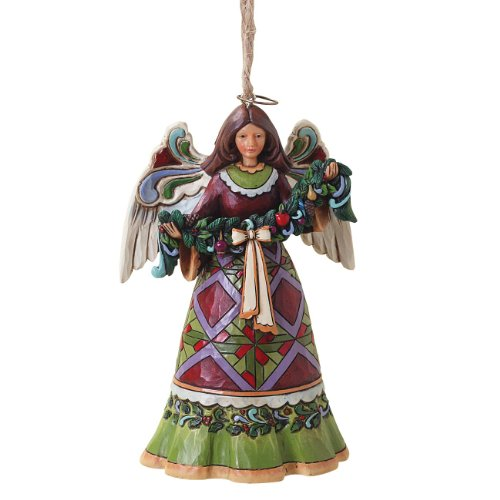 Enesco Jim Shore Heartwood Creek Red and Green Angel with Garland Ornament, 4-1/2-Inch