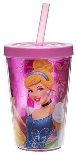 Zak! Designs Insulated Tumbler with Screw-on Lid and Straw featuring Disney Princess Graphics, Break-resistant and BPA-free Plastic , 13 oz.