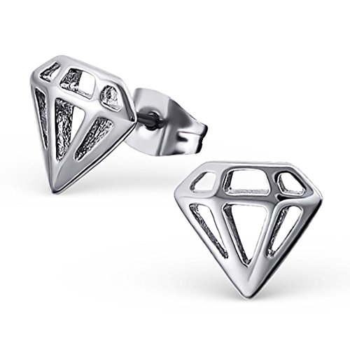 High Polish Stainless Steel Cut Out Diamond Shape Post Stud Earrings Diamond Shape Post Earrings