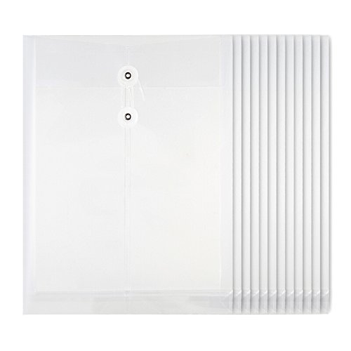 Looneng Clear Transparent Polypropylene Envelope File Folder, 1-1/5 Inch Expansion, String-Tie Closure, 328mm x 251mm, 12 Per Pack