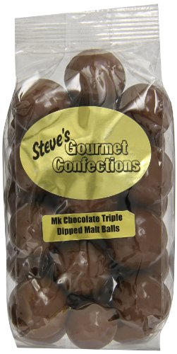 Steve's Gourmet Confections Triple Dipped Malt Balls in Milk Chocolate, 12 Ounce - Gourmet Chocolate Malt Balls