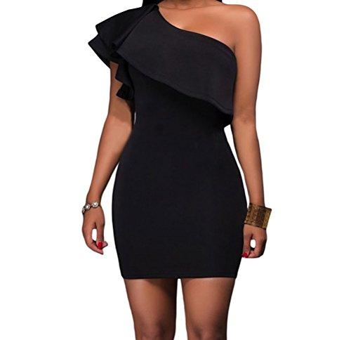 DH-MS Dress Womens Black Asymmetric Ruffled Neckline Bodycon Mini Dress M (Brazil Fancy Dress Ideas)