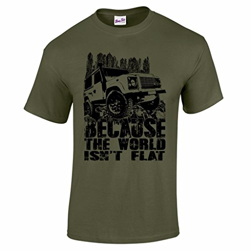 Men's Because The World Isn't Flat 4X4 Off-Road Racing CCV RTV Graphic Tee Military M Green