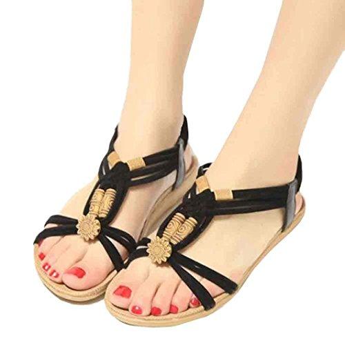 Las Zapatos De Playa de Chanclas Bohemia y Cordones con Sandalias Bailarinas Negro Mujer Verano Cuentas Zapatillas Cuero Sandalias Moda Cómodo Planas ASHOP Elegante de Y AftnqY