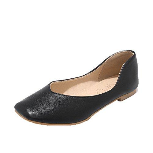 Slip Pu on Bajo Cerrada Mujeres Aalardom De Negro Tacón Zapatos Puntera SZw56q