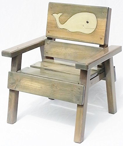 Kids Outdoor Wooden Nautical Chair, Patio or Garden Furniture, Heirloom Gift, Engraved and Painted Whale