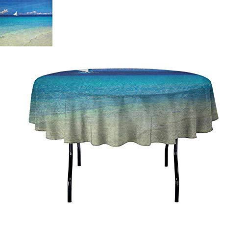 Nautical Waterproof Anti-Wrinkle no Pollution Exotic Tropic Beach in Philippines Island Horizon Summer Paradise Concept Table Cloth D70 Inch Turquoise Cream