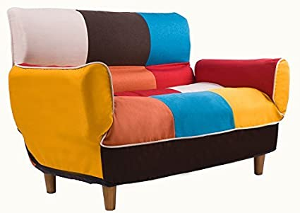 Merax Adjustable Sofa And Loveseat In Colorful Line Fabric Home Furniture  Fold Down Sofa Couch (