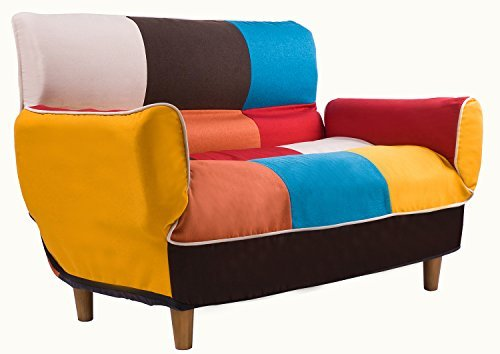 Merax Adjustable Sofa and Loveseat in Colorful Line Fabric H