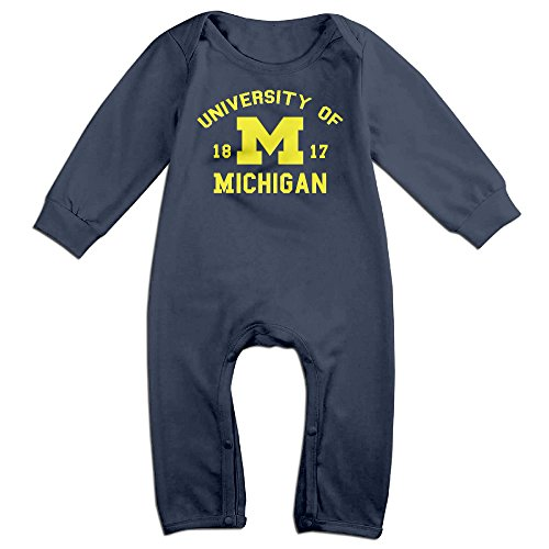 ElishaJ University Of Michigan Babys Long Sleeve Bodysuits Navy Size 6 M
