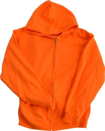High Visibility Neon Safety Fleece Zip-up Hooded Sweatshirt- Orange or Green