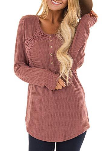 Crochet Tunic Trim (HOTAPEI Womens Cute Waffle Knit Button Tunic Crochet Trim Henley Blouses Long Sleeve T Shirt Women Plus Size Casual Tops for Fall Pink XL)