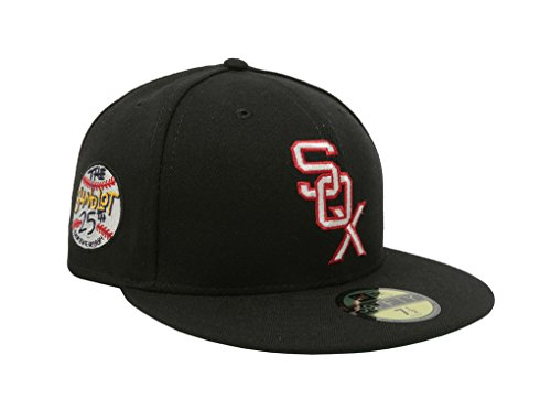 New Era Men's Hat Chicago White Sox Sandlot 25th Anniversary 59Fifty Fitted Black Cap (7 (25th Anniversary Cap)