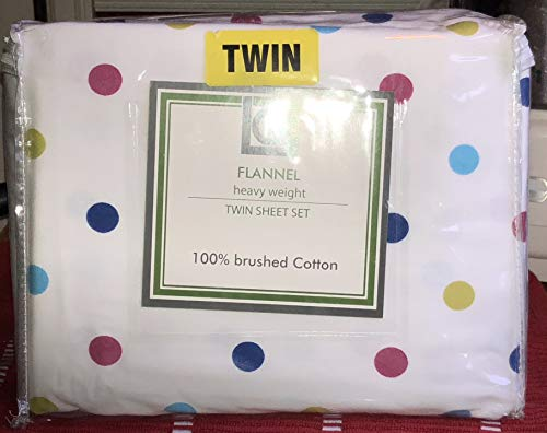 (lq Polka DOT Heavy Weight Flannel Sheet Set - Twin Size (Colored Polka dots) Cotton Flannel)
