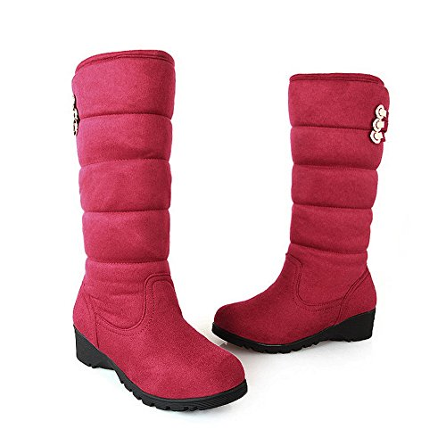 Wedge and B AmoonyFashion Toe Solid US Closed PU Boots Low Heels with 5 M Girls Red Metalornament Rubber Round 5 q778TP