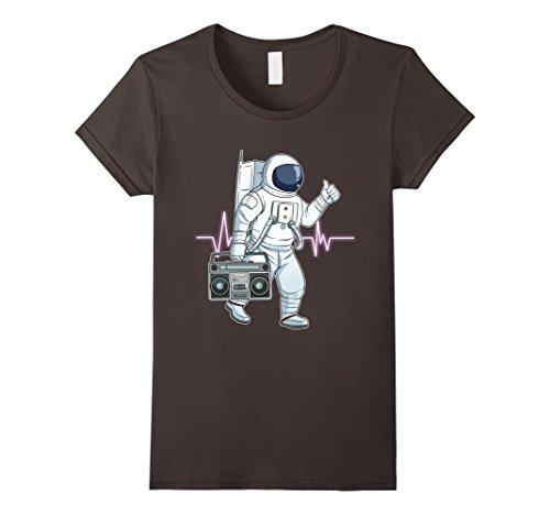 Womens Retro Astronaut T-Shirt Space Boombox Graphic Shirt Hip Hop XL Asphalt