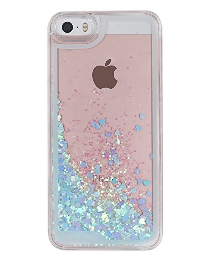 Price comparison product image B'Q iPhone 5 Case, iPhone 5S Liquid Quicksand Bling Love Heart Case, Adorable flowing Floating Moving Bright Shine Glitter Love Heart Hard Case for iPhone5 5S - Bing Blue