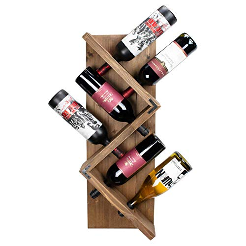 (Atterstone Rustic Wine Rack I Unique and Stylish Wall Mounted Wooden Wine Bottle Display Rack I Holds 6 Bottles )