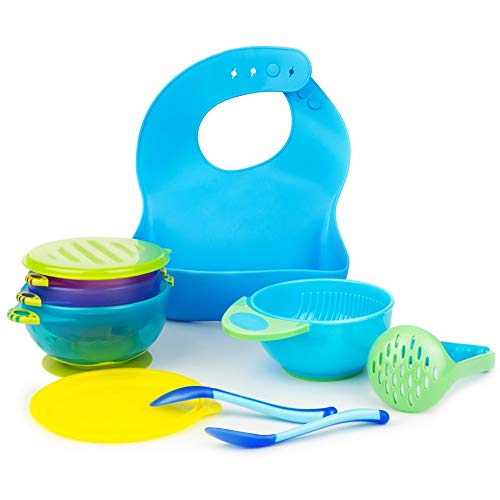 Baby Feeding Suction Bowl Silicone Bib Mash Bowl Set Feeding Spoons Blue