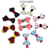 """Online Monk - Made by hand - Baby Girls Polka Dot Grosgrain Ribbon 2"""" Hair Bows with Alligator Clips - ( ASSORTED COLLECTION OF DIFFERENT TYPES- Polka Dots, Beautiful Squares, Princess crown, Plain Polka, Strawberry Polka, Assorted Flowers Print, Stars Print, Navy Inspired ) - Pack of 10 Pcs"""