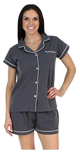 Sleepyheads Women's Sleepwear Stretchy Jersey Long Sleeve Button Up Top and Pants Pajama Set,Charcoal,Medium
