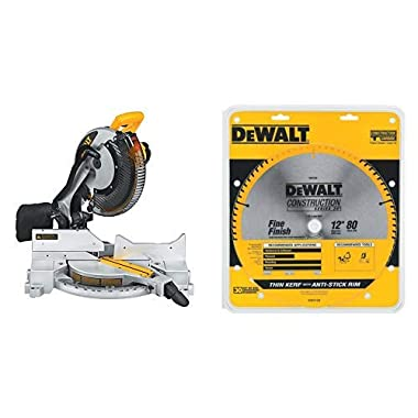 DEWALT DW715 15-Amp 12-Inch Single-Bevel Compound Miter Saw with DW3128 Series 20 12-Inch 80 Tooth ATB Thin Kerf Crosscutting Miter Saw Blade with 1-Inch Arbor