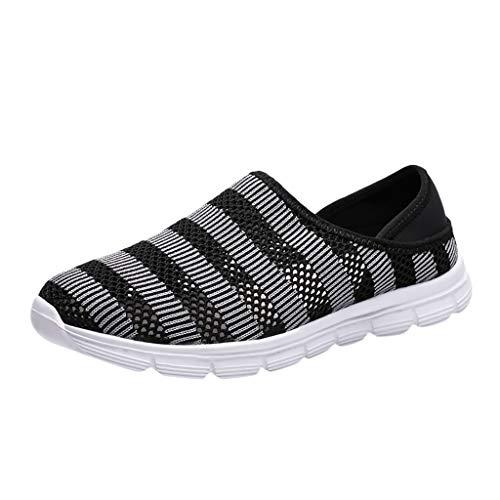 Respctful✿Men's Walking Shoes Sneakers Casual Stripe Ultra-Sock Knit Running Sneaker Breathable Athletic Slip On Shoes Black