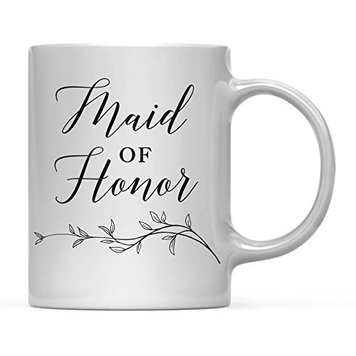 Andaz Press Wedding Party 11oz. Coffee Mug Gift, Maid of Honor, Vintage Boho Black Leaves Botanical Arrangement, 1-Pack, Birthday Present Ideas ()