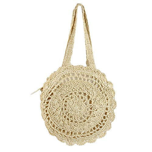 Women's Straw Handbags Large Summer Beach Tote Woven Round Handle Shoulder Bag Mesh Beach Bag for Women ()