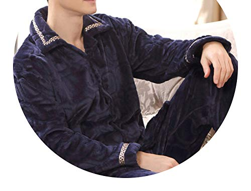 Pursuit-of-self Winter Thick Coral Fleece Men Pajamas Sets,7,XXXL