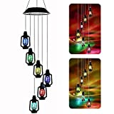 Color-Changing Solar Powered Lanterns Wind Chime Wind Moblie LED Light, Gzero Spiral Spinner Windchime Portable Outdoor Chime for Patio, Deck, Yard, Garden, Home,
