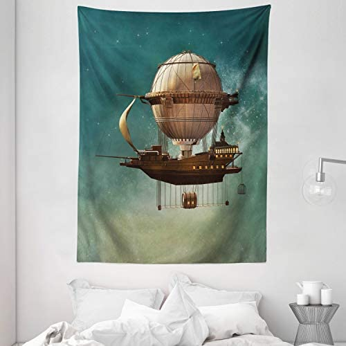 Ambesonne Fantasy Tapestry, Surreal Sky Scenery with Steampunk Airship Fairy Sci Fi Stardust Space Image, Wall Hanging for Bedroom Living Room Dorm, 60 X 80 , Teal Brown