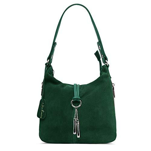 Nico Louise Women Split Real Leather Shoulder Bag Female Suede Crossbody handbag Casual Lady Messenger Hobo Top-handle Bags (Dark Green) (Suede Messenger)