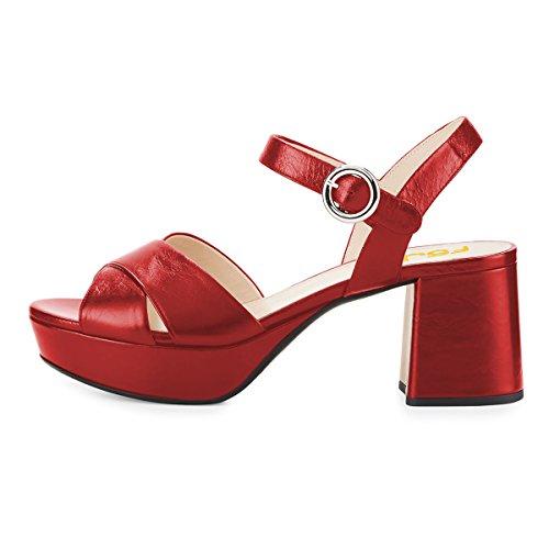 Fsj Vrouwen Zomer Enkelbandje Dikke Hak Sandalen Peep Toe Platform Comfortabele Schoenen Maat 4-15 Ons Rood