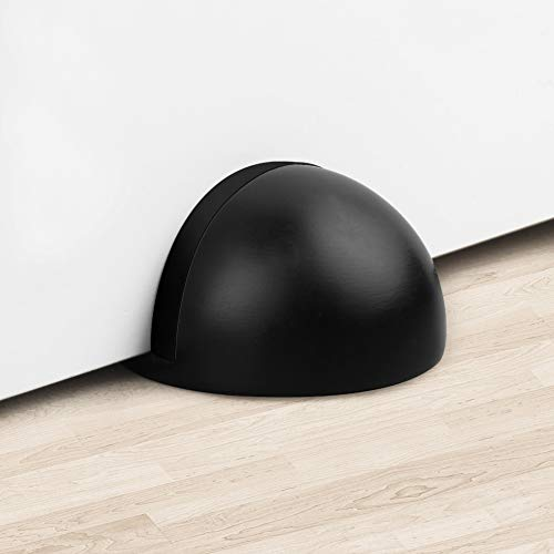 (TPOHH Stainless Steel Half Dome Floor Door Stop with Double-Sided Adhesive Tape No Need to Drill, Black)