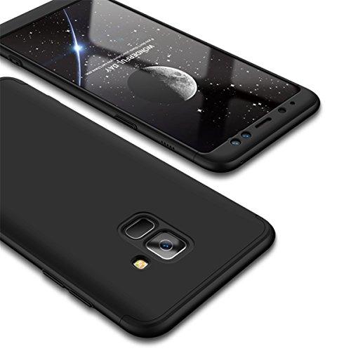 Coque Galaxy A8 2018, Galaxy A8 Plus 2018 Case 360 Protection PC 3 en 1 Full Cover Adamark Housse Integrale Bumper Etui Case Accessoires Ultra Fin Et Discret Pour Samsung Galaxy A8 / Galaxy A8 Plus 20 Noir