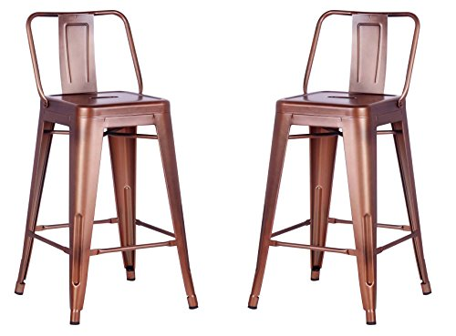 AC Pacific Modern Industrial Metal Barstool with Bucket Back and 4 Leg Design, 24' Seat Bar Stools (Set of 2), Vintage Copper