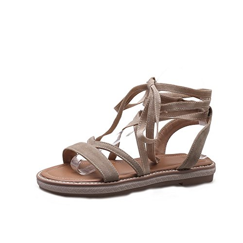 AmoonyFashion Women's Low-Heels Frosted Solid Lace-Up Open-Toe Sandals,