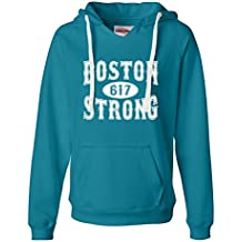 Go All Out Screenprinting Womens Boston Strong 617 Deluxe Soft Hoodie