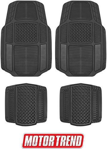 Motor Trend MT-824 Carbon Fiber Armor-Tech All Weather Floor Mats, 4 Piece Set - Waterproof, Heavy-Duty Front & Rear Rubber Liners for Car, Truck, SUV & Van