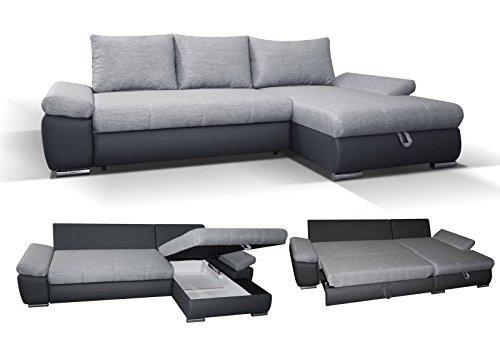 Polstermöbel Sergio in grau mit Staukasten und Bettfunktion – Abmessungen: 285 x 171 cm (L x B) - Ottomane: Links