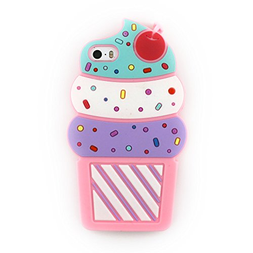iPhone 7 Case, iPhone 8 Case, 3D Cartoon Cute Cherry Cupcakes Ice Cream Shaped Soft Silicone Case Cover for iPhone 7 (2016) / iPhone 8 (2017) (4.7