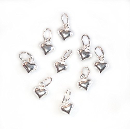 10 Qty. Small Puffed Heart Charm .925 Sterling Silver by JensFindings