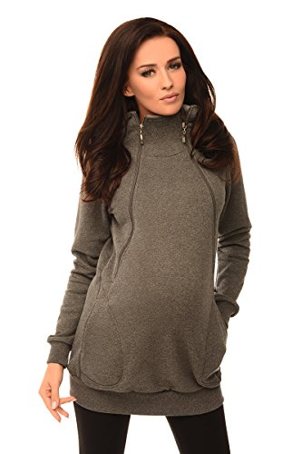 - Purpless Maternity 2in1 Pregnancy and Nursing Sweatshirt Hoodie Hooded Top 9052 (8, Dark Gray Melange)