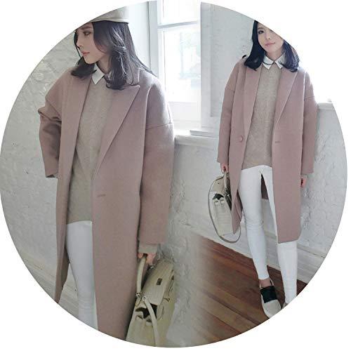 (Elegant Lady Cardigan Overcoat Wool Jacket Coat Female Suit Woolen Coat Feminino H918,ou Pink,L)